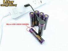 6PCS סוללה למחשב נייד USB 18650 3500mAh 3.7V ליתיום Rechargebale סוללה USB 5000ML ליתיום סוללה + USB חוט