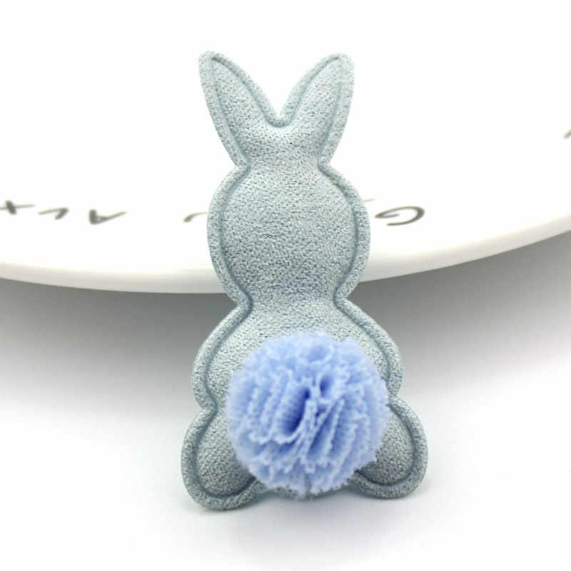 10 Uds 2,6*5,2 cm Bola de flores de conejo acolchado aplique para la ropa DIY sombrero con pinza para el pelo de los niños manualidades decoración adornos Accesorios
