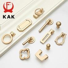 KAK, tiradores de armario de estilo europeo Vintage dorado, tiradores de armario de cocina de aleación de Zinc sólido, tirador de cajón, tiradores de muebles, manija de Hardware
