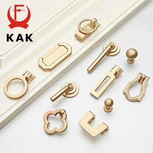 KAK European Style Vintage Gold Cabinet Pulls Solid Zinc Alloy Kitchen Cupboard Handle Drawer Knobs Furniture Handle Hardware