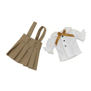 Envío libre solamente para middie blyth muñeca camisa blanca falda marrón umpsuits campus traje uinform ropa 20 cm juguete 1/8 regalo