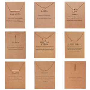 Trendy Circle Necklace Women Simple Geometric Round Straight Bar Pendant Gold Color Chain Choker Necklaces Valentine's Day Card