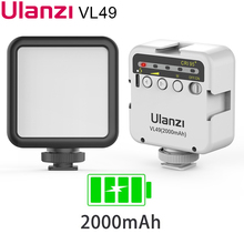 Ulanzi VL49 6W smartphone led 조명 촬영조명 2000mAh 내장 배터리 5500K 사진 조명 U 밝은 2700K 3500K Vlog 채우기 빛 for Sony ZV1 A6400 A6100 A6300 Canon G7X A7C Fujim