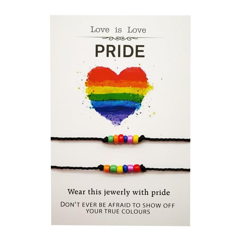 2 Pcs/set New Rainbow LGBT Sead Brads Bracelet Set Men Women Handmade Braided Black Rope Bracelet Homme Jewelry