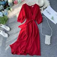 New Vintage V Neck Midi Outono Longo Bandage Vestido de Festa Vestido De Festa À Noite As Mulheres Casuais Cintura Alta Elegante A-Line vestidos