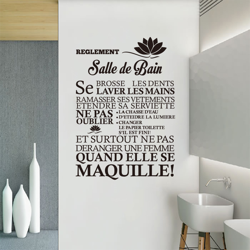 Franzosisch Citation Wand Aufkleber Wandbild Bad Regel Vinyl Wand Aufkleber Wand Abziehbilder Kunstler Dekoration Badezimmer Dekoration Dw1041 Bathroom Decor Home Decorwall Sticker Aliexpress