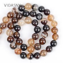 Coffee Stripe Agates Natural Loose Stone Beads For Jewelry Making Diy Bracelet Necklace 4/6/8/10/12mm Round Spacer 15inch