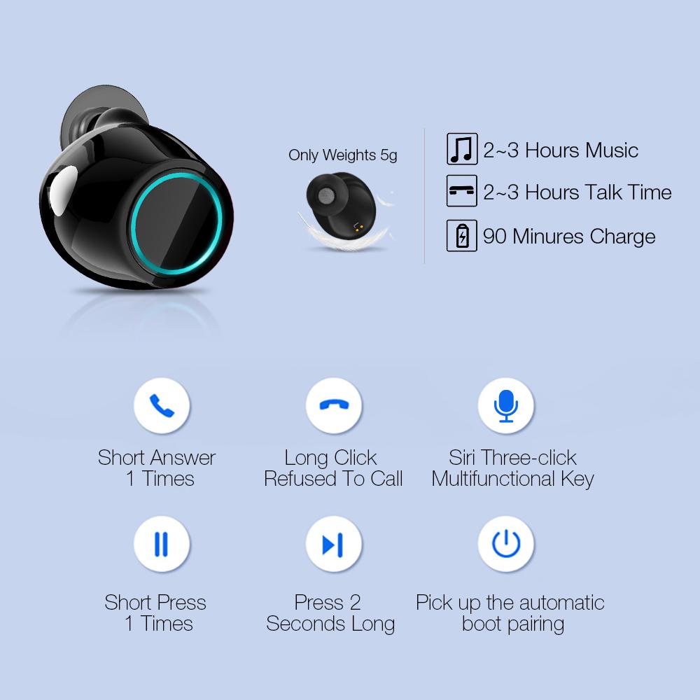 TWS Earbuds Wireless Headphones Bluetooth Earphone Stereo Headset Earphone For Phone With Charging Box Wireless Bluetooth Headphones (2)
