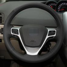 Hand-stitched Black Leather Steering Wheel Cover for Toyota Verso EZ Avensis car hand stitched black leather steering wheel cover for toyota corolla 2006 10