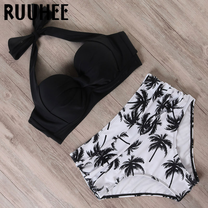 RUUHEE Halter TOP High Waist Bikini 2020 Women Bandage Swimwear Push UP Swimsuit Leopard Swimming Set Maillot De Bain Femme New