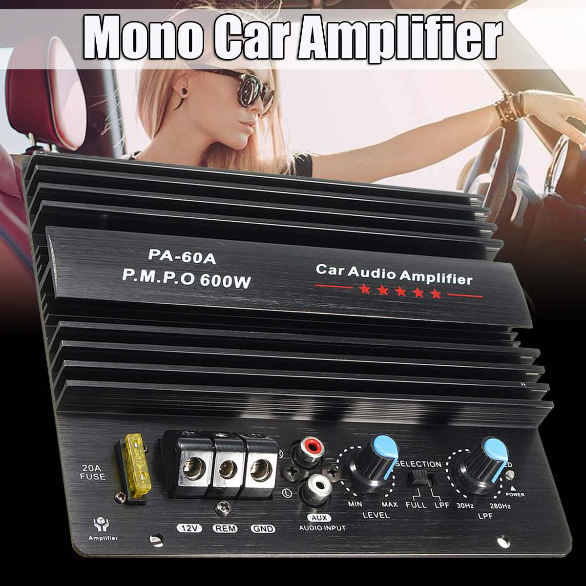12V 600W Mono Channel Car Audio Power Amplifier Powerful Bass Subwoofers Amp PA-60A Black Durable Lossless Car Amplifier Board