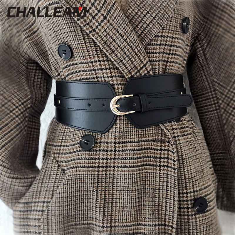 Luxury Ladies Wide Belt Elastic Vintage Buckle Leather Wide Fashion Wild Pin Buckle Women's Belt Waist Seal Belt X208