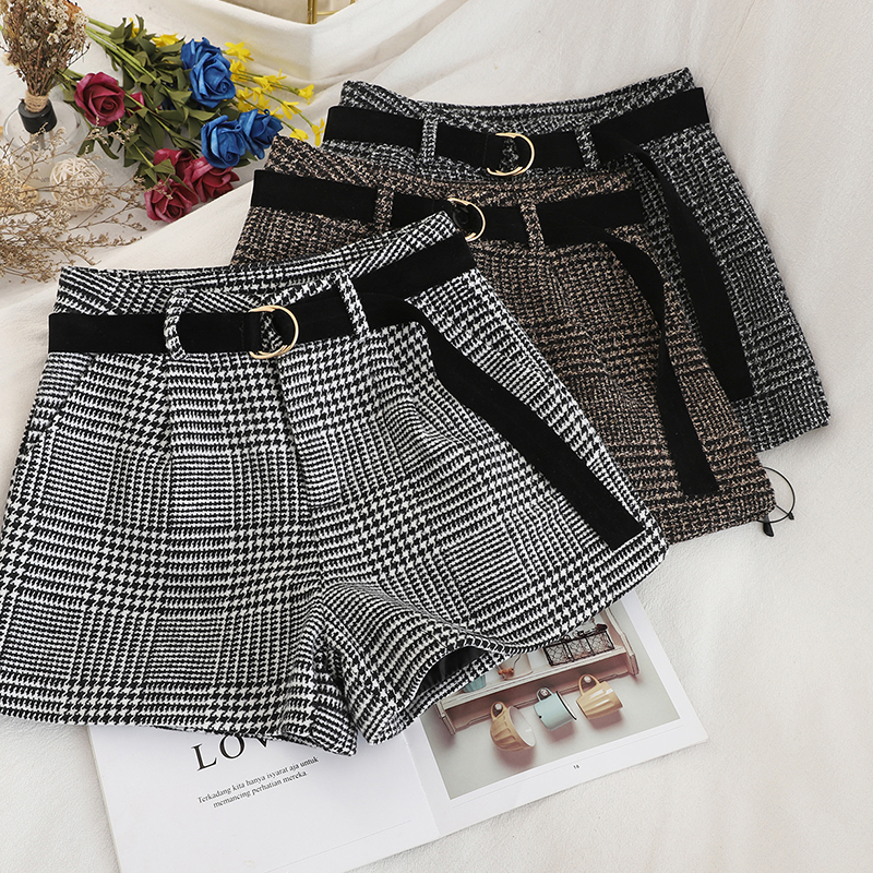 HELIAR Women Grey Plaid Woolen Shorts HIghstreet Women High Waist Shorts With Belt Shorts Winter Sping Boots Shorts For Women
