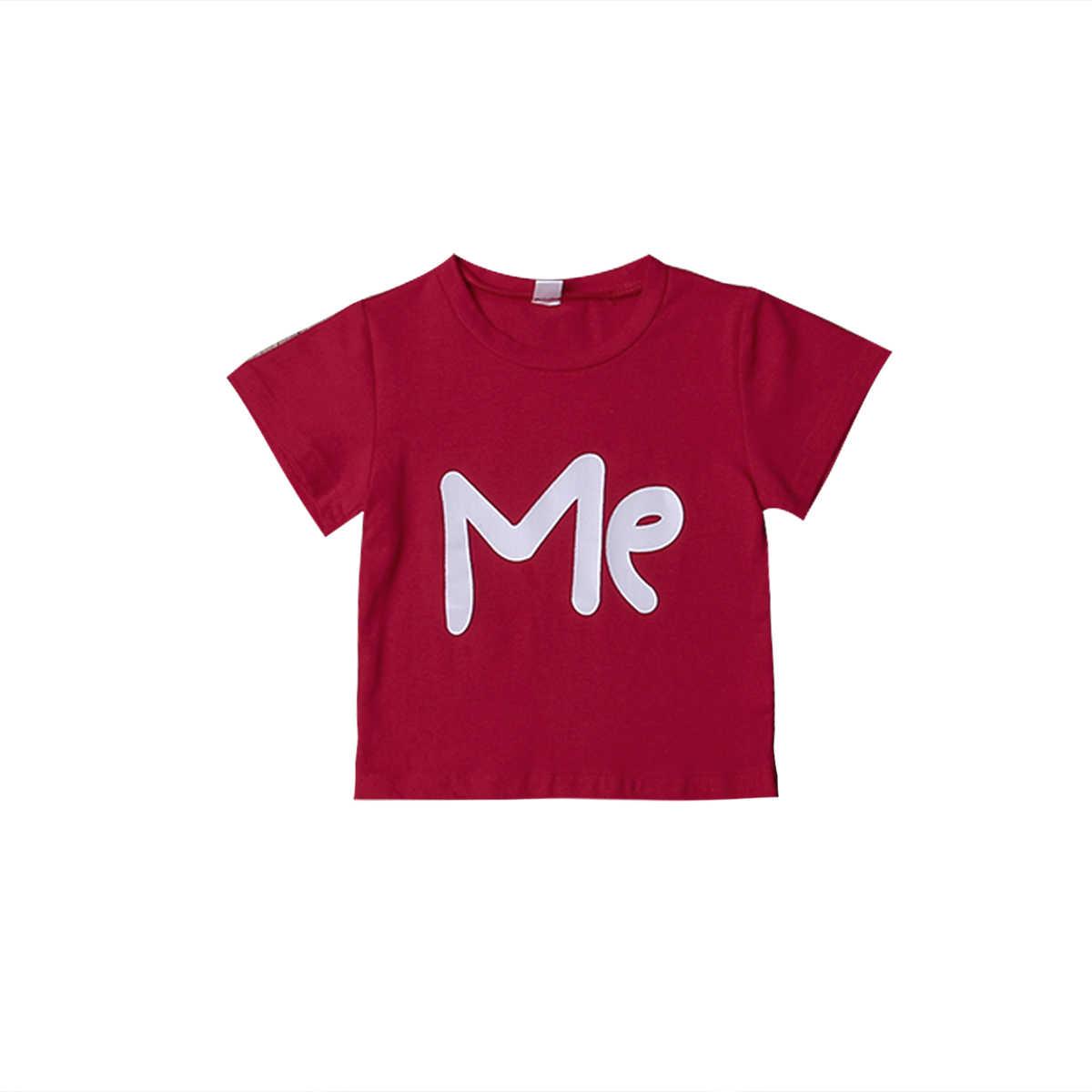 2019 ใหม่สำหรับครอบครัวพ่อแม่เด็กเสื้อแขนสั้นวันวาเลนไทน์ love พิมพ์ด้านบน