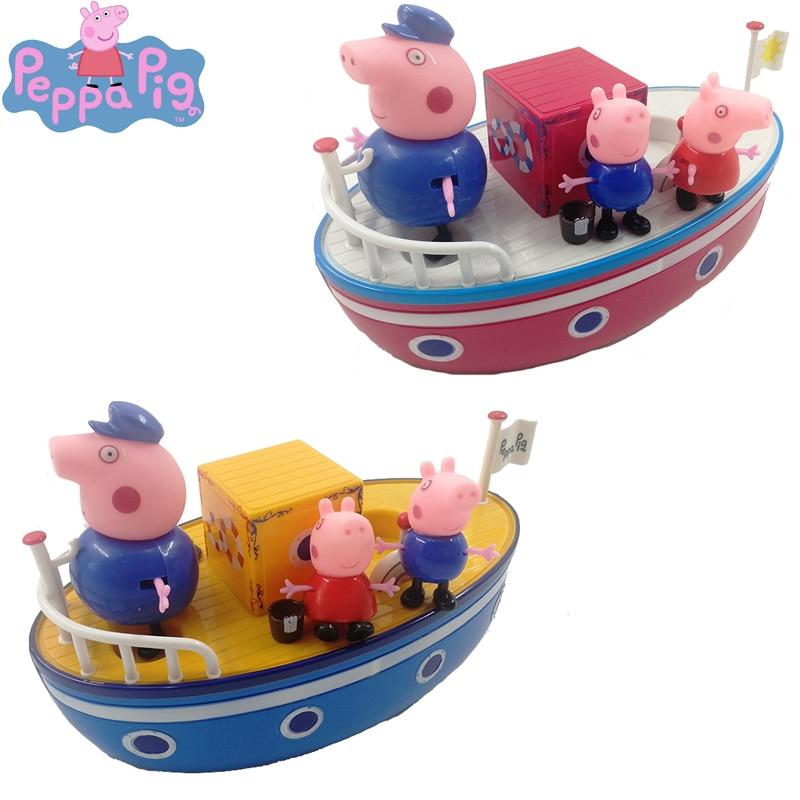 Peppa pig navio de vela diy modelo george família anime figura brinquedo conjunto plástico figura ação brinquedos para crianças presentes aniversário 2p12