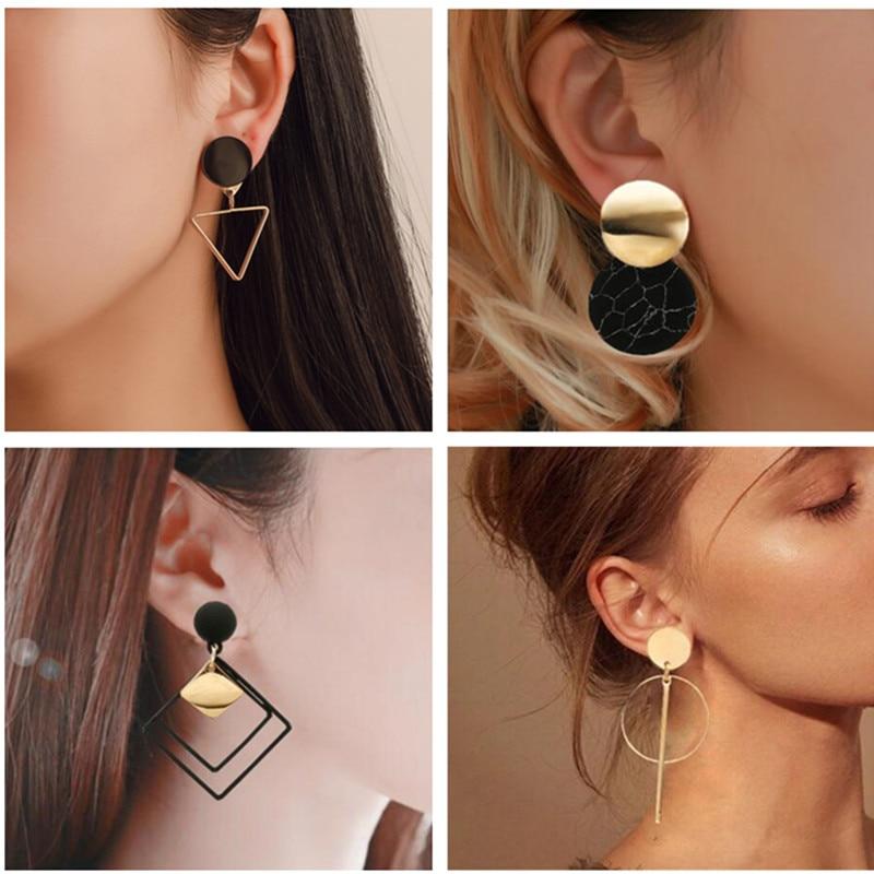 Korean Statement Black Acrylic Drop Earrings For Women 2020 Fashion Jewelry Vintage Geometric Gold Asymmetric Earring