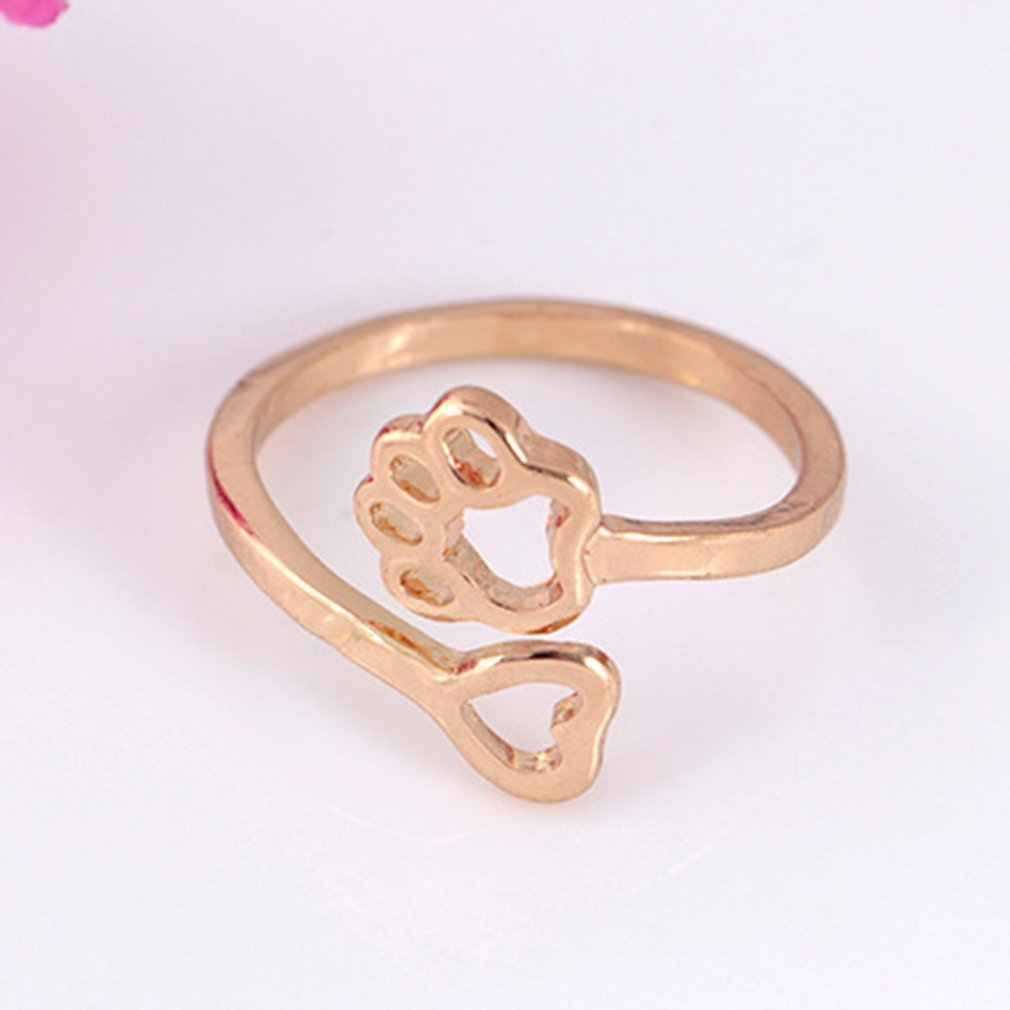 New Fashion Creativity Opening Hollow Heart Dog Claw Shape Adjustable Charming Jewelry Accessories Rings For Women