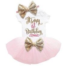 1 год для первого дня рождения; Платье для малышей; Для маленьких девочек; Вечерние одежда для малышей летняя детская одежда комплект принце...