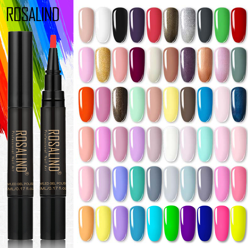 ROSALIND Nero Gel Polish Pen vernice UV Nail Base semi-permanente Coat Primer Nail Art Extension UV LED Gel Nail Set per Manicure