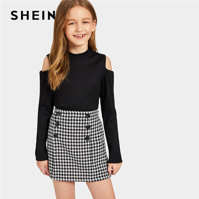 SHEIN Kiddie Black Cold Shoulder Rib Knit Tee And Houndstooth Skirt Suit Set Kids 2019 Autumn Long Sleeve Casual Two Piece Sets