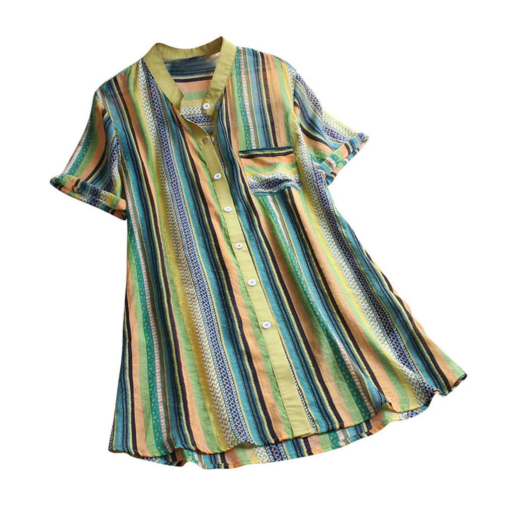 Blouse Women блузка женская Multicolor Striped Print Short Sleeve Button Tops And Blouses Women Casual Shirts Free Shipping #3