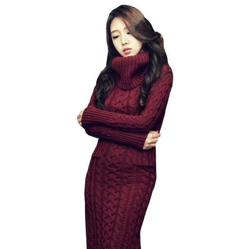 2019 女性のニットセータードレス韓国秋冬高襟ツイストセータードレス暖かいスリムニットロングドレス女性 K322