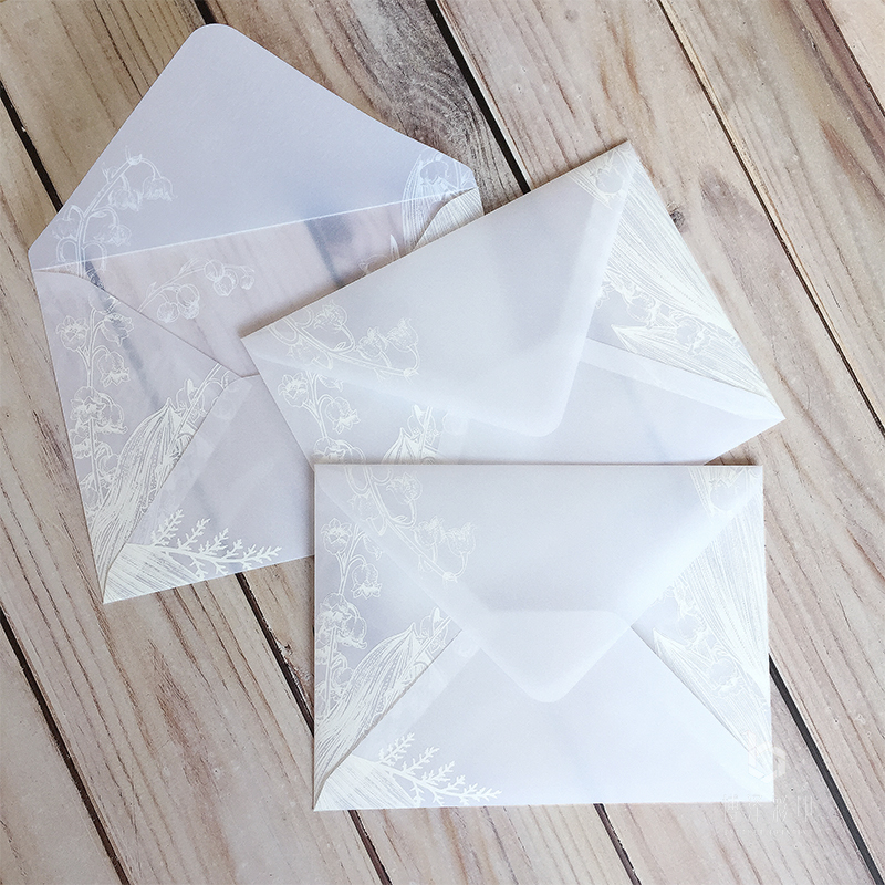 20pcs/lot Sulfuric Acid Paper Envelope White Leaves Plant Pattern Envelope For Wedding Party Letter Invitation Birthday 14x19cm