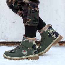 Teen Kids Boy Boots Casual Camouflage High-Top Cotton Tooling Boots Children Warm Boys Girls Sneaker Boots Shoes 30-39 Size(China)