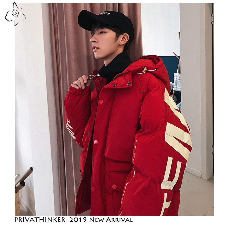 Image 5 - Privathinker 2019 Thick Warm Men Winter Jacket Clothes Casual Loose Harajuku Mens Parkas Coats Hooded Print Red Male Windbreaker-in Parkas from Men's Clothing