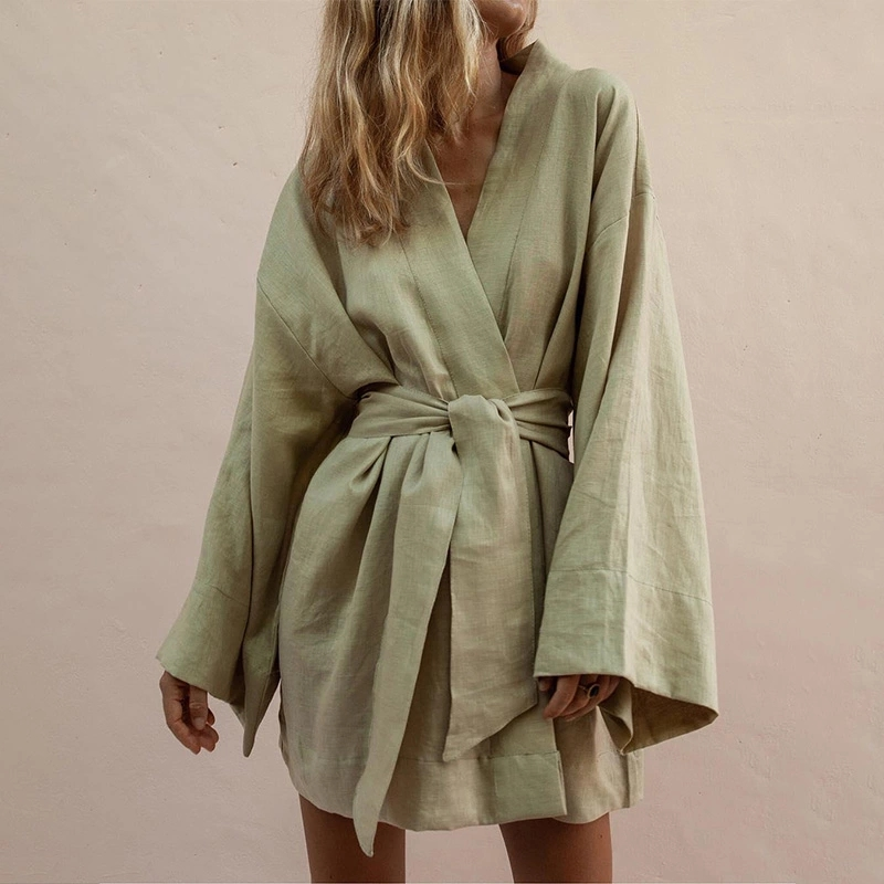 Bathrobe White Woman Nightwear Coat Long-Sleeve Mini Women's Lady Armygreen Autumn Solid