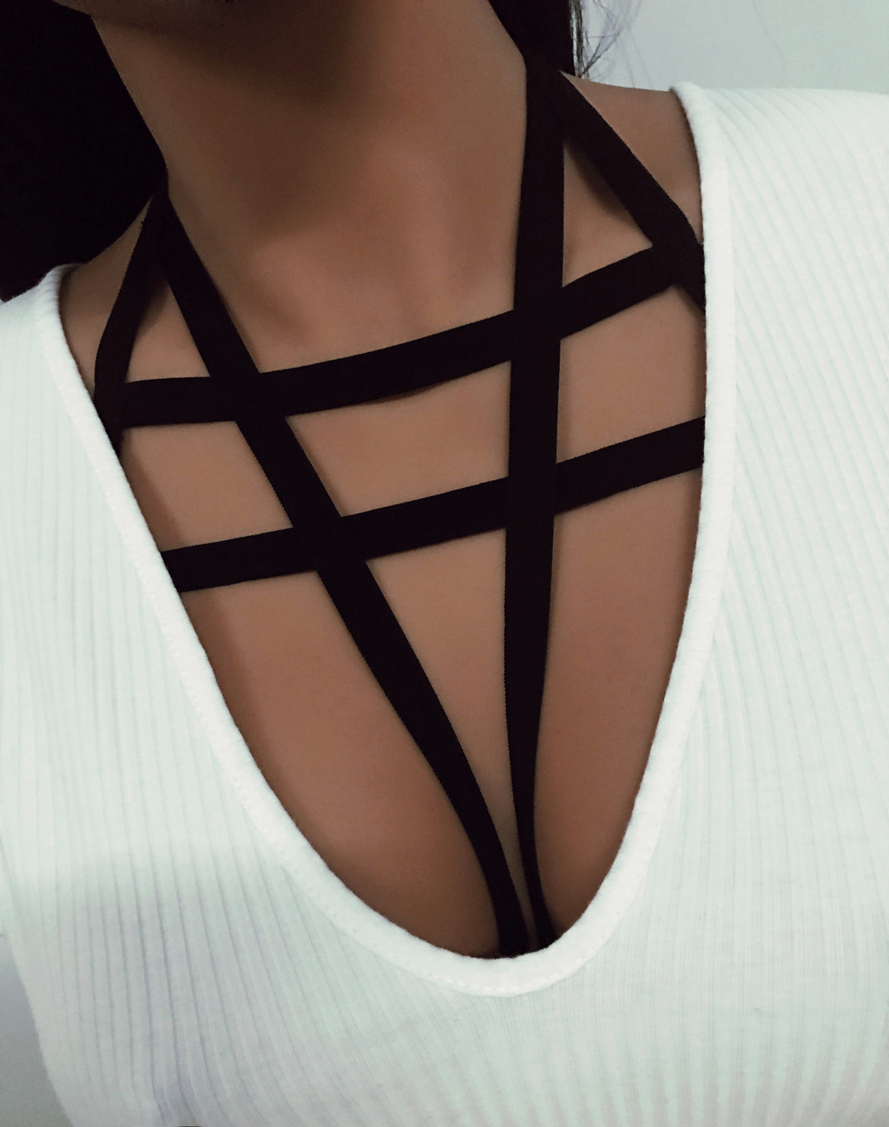 Feitong Fashion Gothic Sexy Women Ladies Elastic Hollow Strappy Bandage Bra Cage Crop Top Cropped Bustier Cupless Body Belt 2019