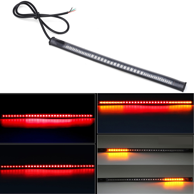 48LED Motorcycle Turn Signal Light Tail Brake Stop License Plate Lamp Strip Integrated 3528SMD Flexible Waterproof Accessories