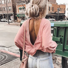 Frauen Sexy Herbst Backless Hoodies criss-cross Lange Hülse Unregelmäßige Damen Sweatshirts 2020 Frühling Mode Weibliche Sweatshirt(China)