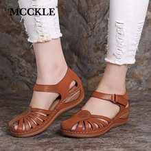 MCCKLE Women Sandals Retro Wedges Mixed Color Hook&Loop Slip On Sandals Female Outdoor Summer Casual Shoes Ladies Plus Size