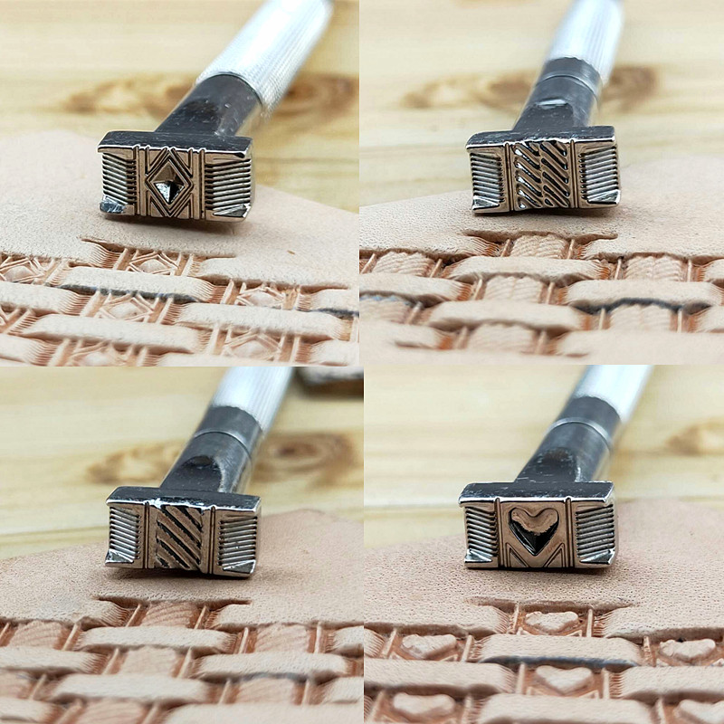 Leather Embossing Tools Stamping Leathercraft Punch Carving Working Logo Heart Flower Weave Pattern Alloy 13mm*6mm