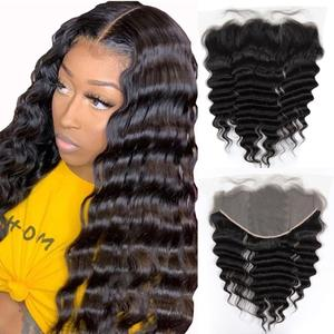 Raw Brazilian Virgin Hair Lace Frontal Closure 13x6 & 13x4 Loose Wave Transparent Lace Pre-Plucked Human Hair Closure Ombre 10A(China)