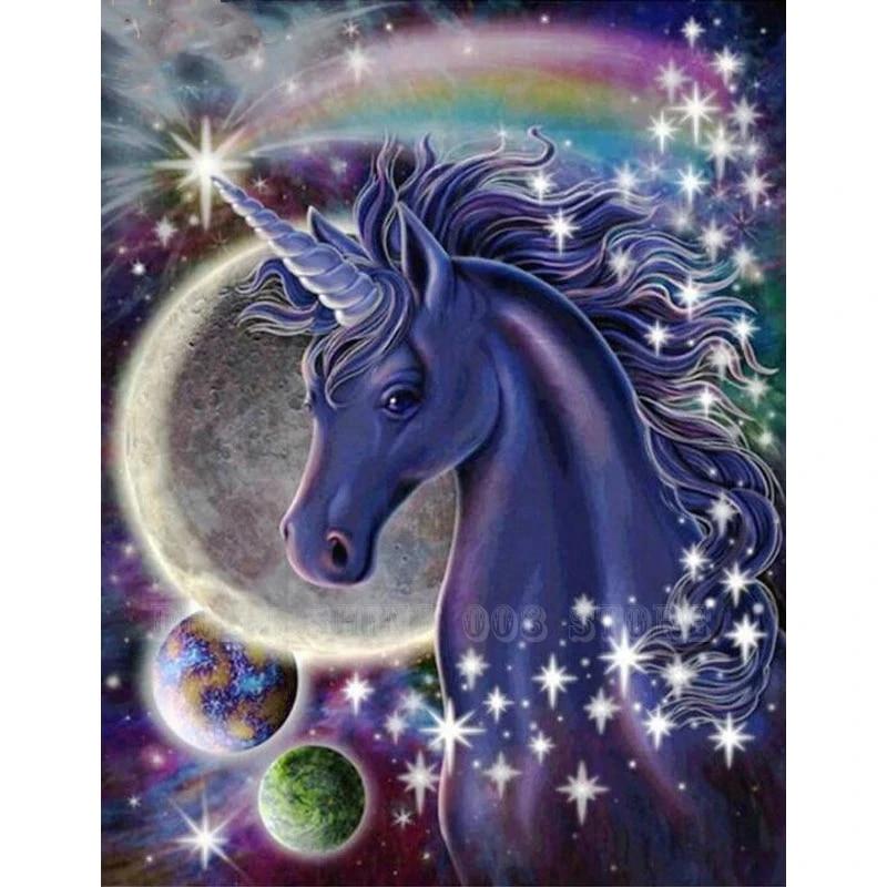 DIY Diamond Painting 5D Embroidery Full Drill Purple Unicorn Home Decor Decor