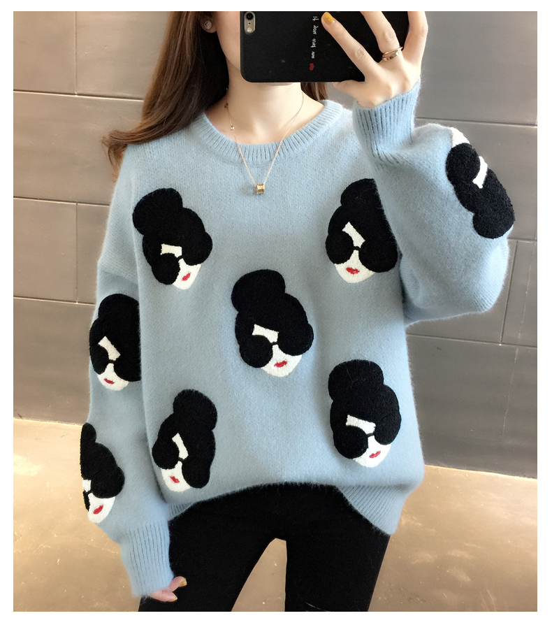 2020 Fashion Girl Cartoon Pattern O-Neck  Knitted Women Sweater Loose Female Pullovers Winter Warm School Ladies Sweaters