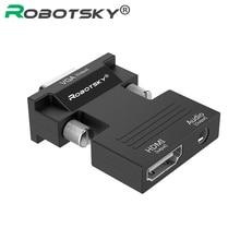 HDMI dişi VGA erkek dönüştürücü ses adaptör desteği 1080P sinyal çıkışı multimedya PC Laptop TV monitörü projektör