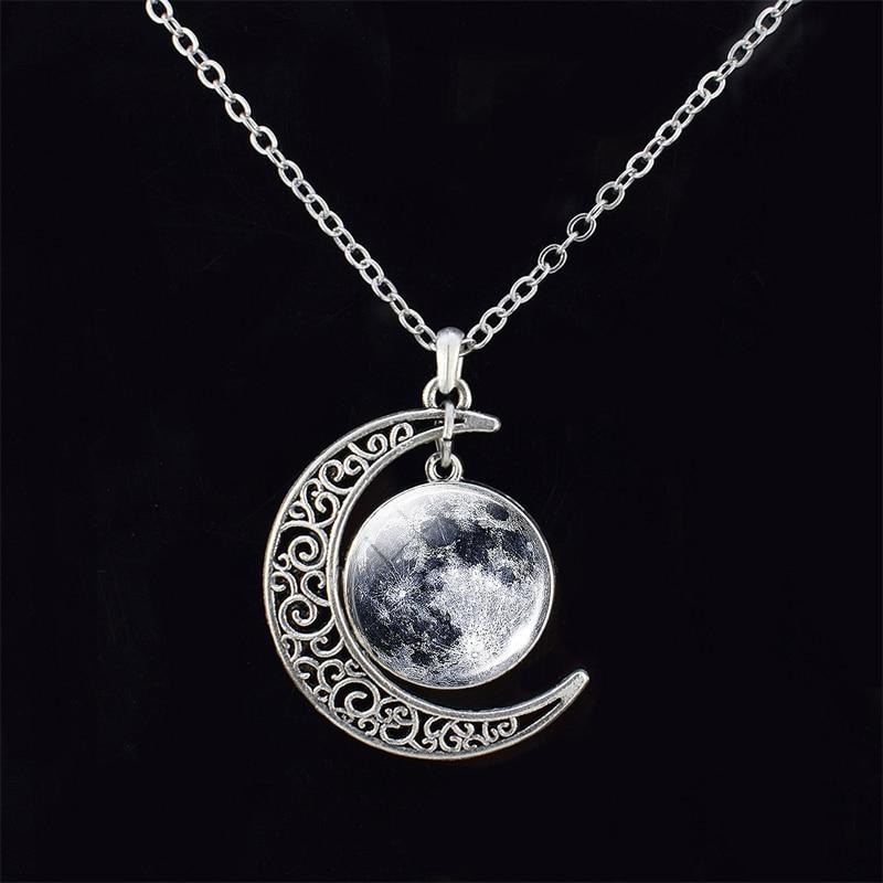 Художественное Изображение Луны, стеклянный кабошон, полумесяц, ожерелье, солнечная система, планеты, космическая галактика, ожерелье, Женс...
