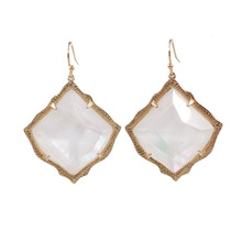 Large Faceted  Kite Shape Pearl Stone Inaly Cooper Dangle Earrings AB Clear Crystal Stone Inaly Drop Earrings Women Jewelry 2020 hot selling kite shape marble stone inaly drop earrings women jewelry abalone inaly cooper dangle earrings