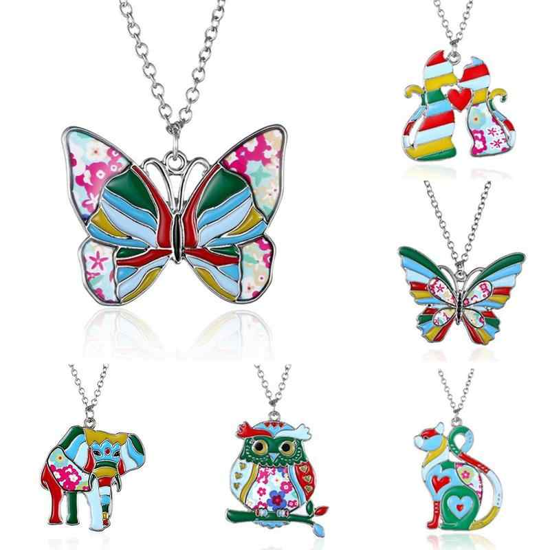 Painting Oil Animal Series Necklace For Women Children Metal Horse Dragon Elephant Cat Dog Butterfly Owl Unicorn Party Jewelry