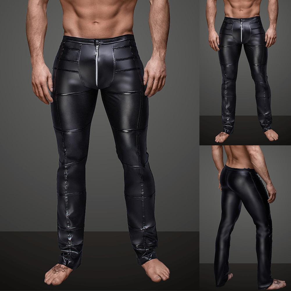 Night Club Sexy Pants Men Striped Faux Leather Zipper Skinny Long Pants Trousers