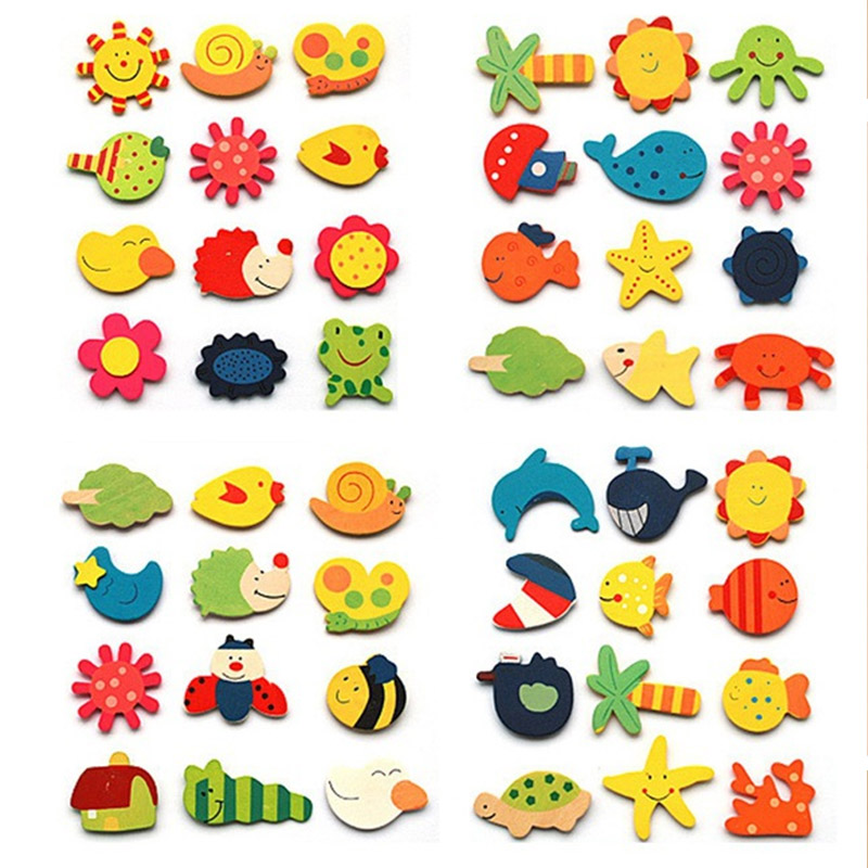12pcs/pack Colorful Kids Wooden Magnet Cartoon Pattern Kitchen Fridge Magnet Stickers <font><b>Children</b></font> Educational <font><b>Toy</b></font> Birthday Gift image
