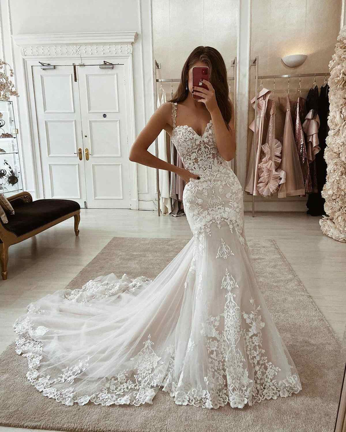 LORIE Ivory Mermaid Wedding Dresses Lace Appliques Tulle Bridal Gowns with  Train Sweetheart Spaghetti Straps Vintage Gowns 18
