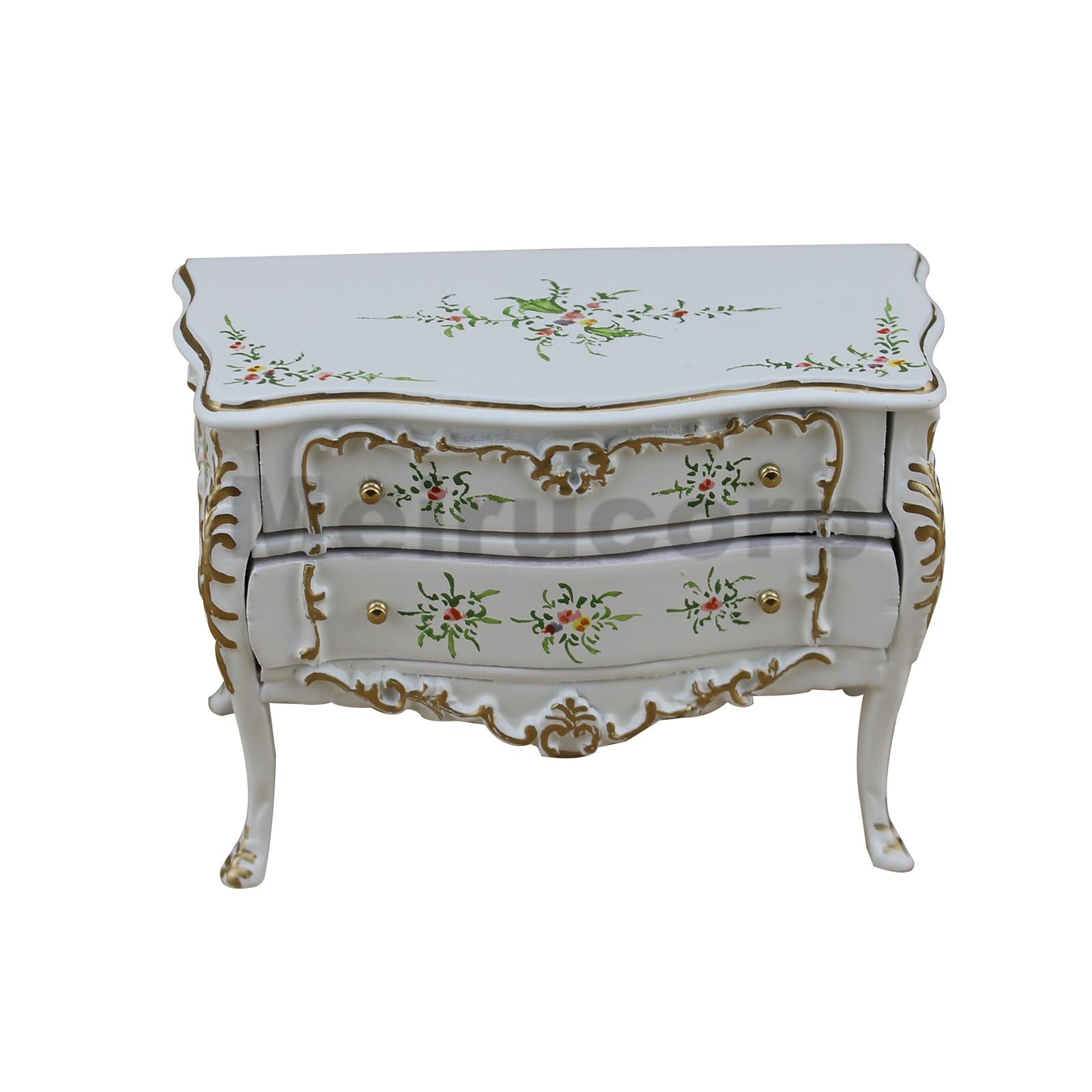 1/12 échelle meubles miniatures blanc deux couches/tiroir armoire sculpté à la main en bois