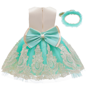 NEW Baby Dress Lace Flower Christening Baptism Clothes Newborn Kids Girls First Years Birthday Princess Infant Party Costume(China)