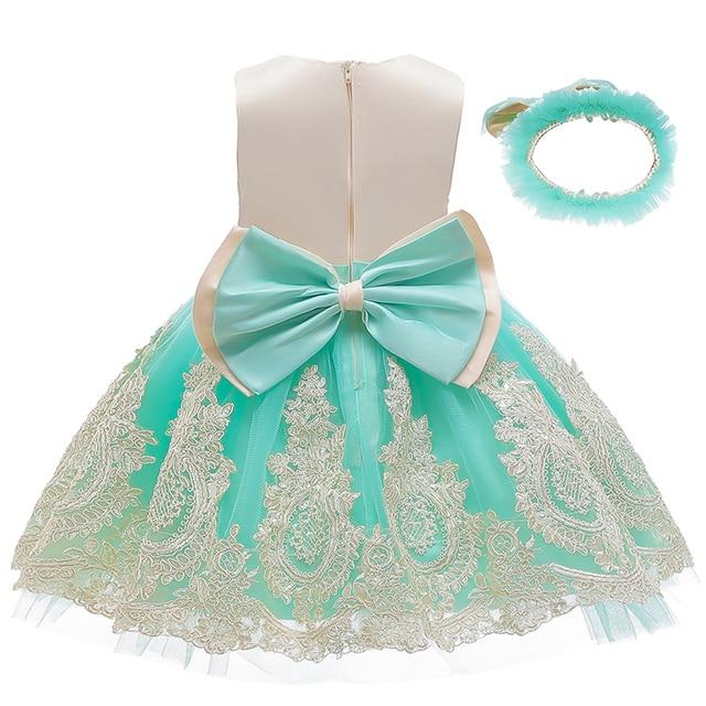 Nowa sukienka dla dzieci koronki kwiat chrzest chrzest ubrania nowonarodzone dzieci dziewczyny pierwsze lata urodziny księżniczka niemowlę kostium imprezowy