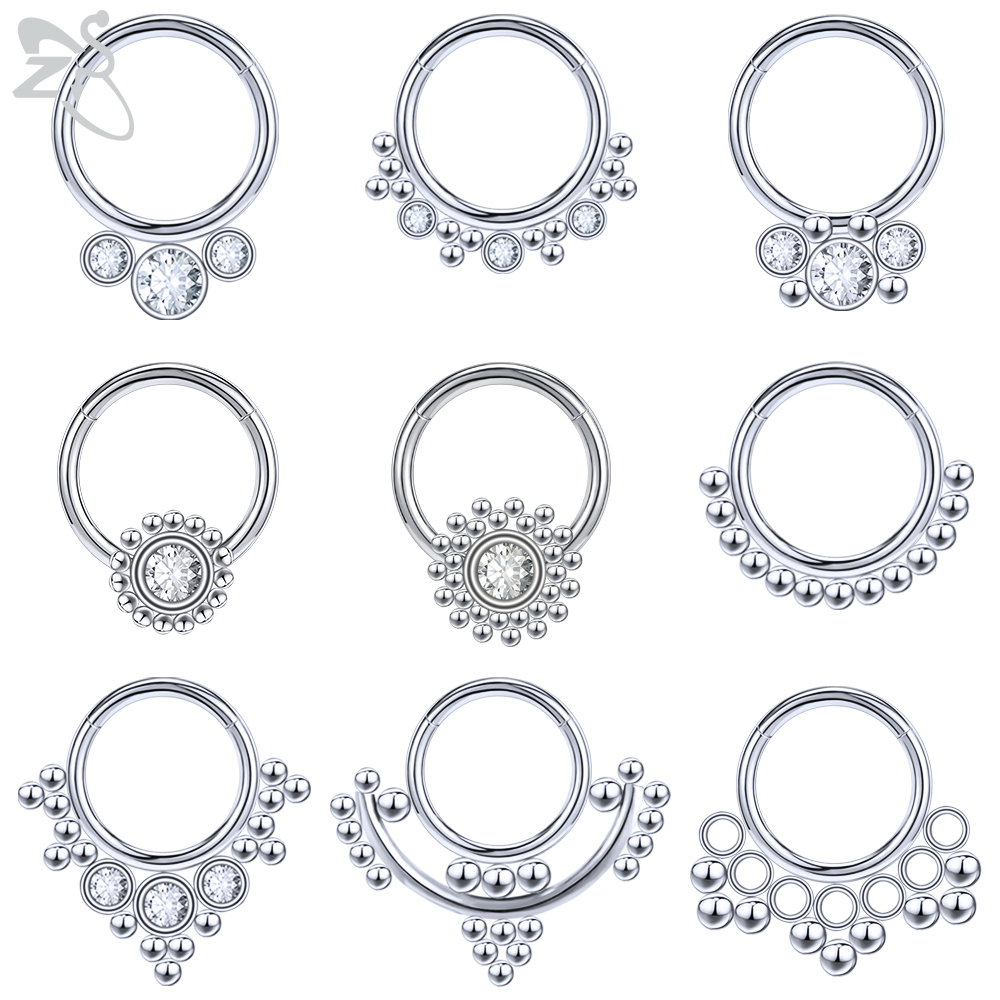16g Crystal Nose Septum Ring for Women Flower Butterfly Septum Clicker Bohemia Indian Hoops Nose Helix Cartilage Piercing Nariz