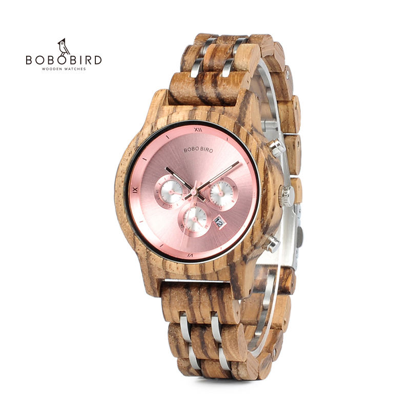 Wood Watches Stop Date-Display Bobo Bird Feminino New-Design Women Luxury Relogio  title=